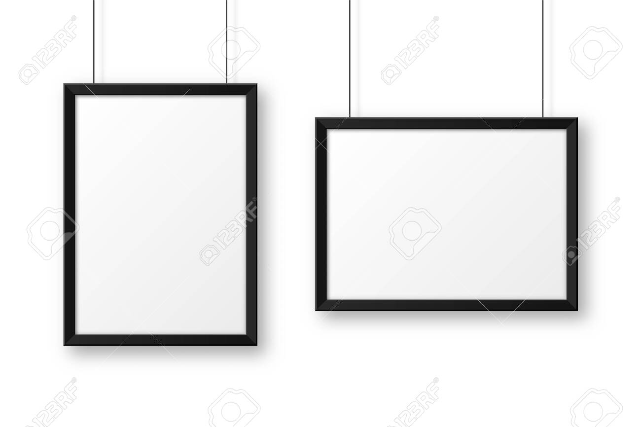 Realistic hanging on a wall blank black picture frame. Modern poster mockup. Empty photo frame. Vector illustration. - 145368333