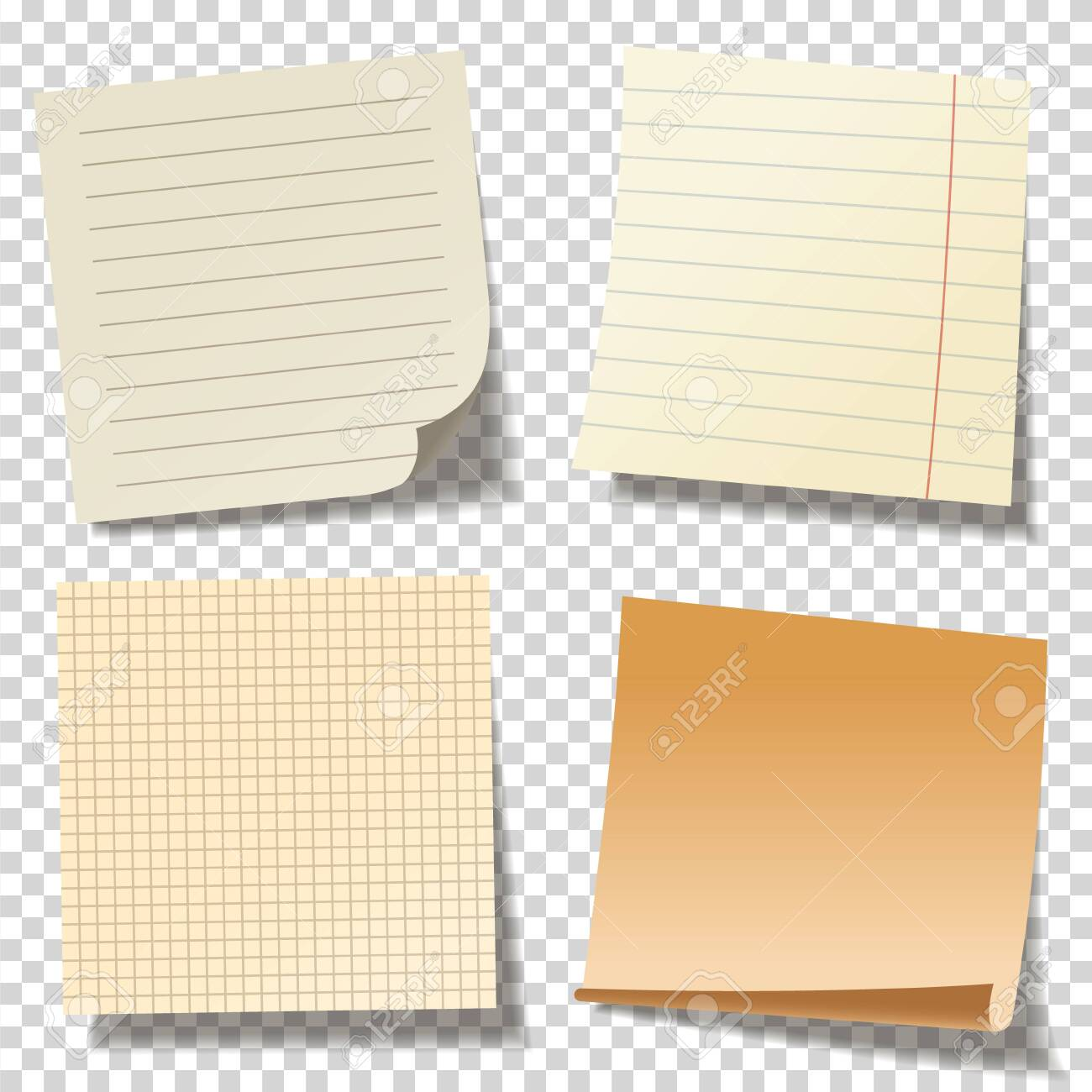 Realistic blank sticky notes. Colored sheets of note papers. Paper reminder. Vector illustration. - 153570582