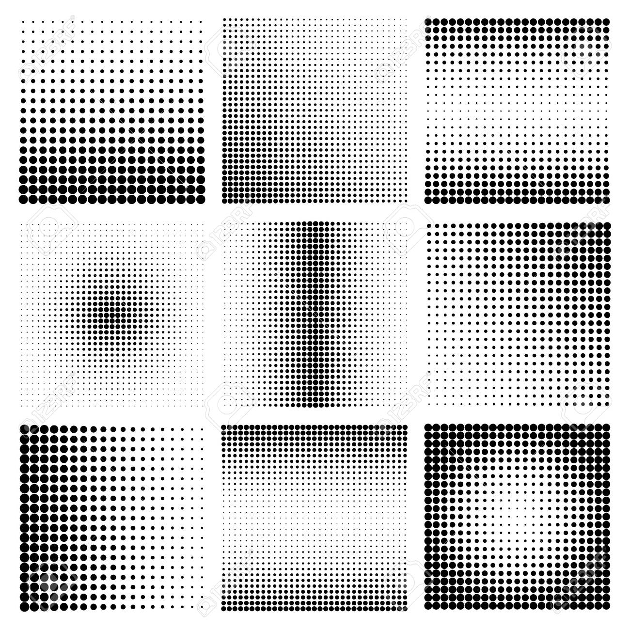 Halftone design elements with black dots isolated on white background. Comic dotted pattern.Vector illustration. - 154069236