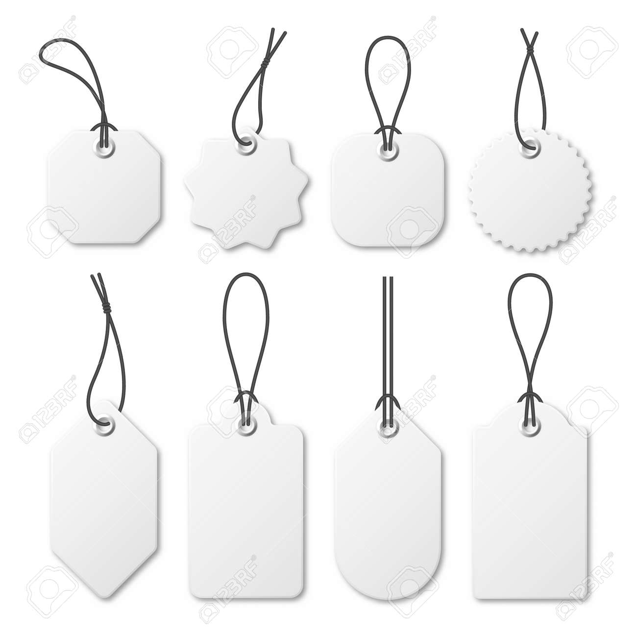 Realistic white price tags collection. Special offer or shopping discount label. Retail paper sticker. Promotional sale badge. Vector illustration. - 159746593