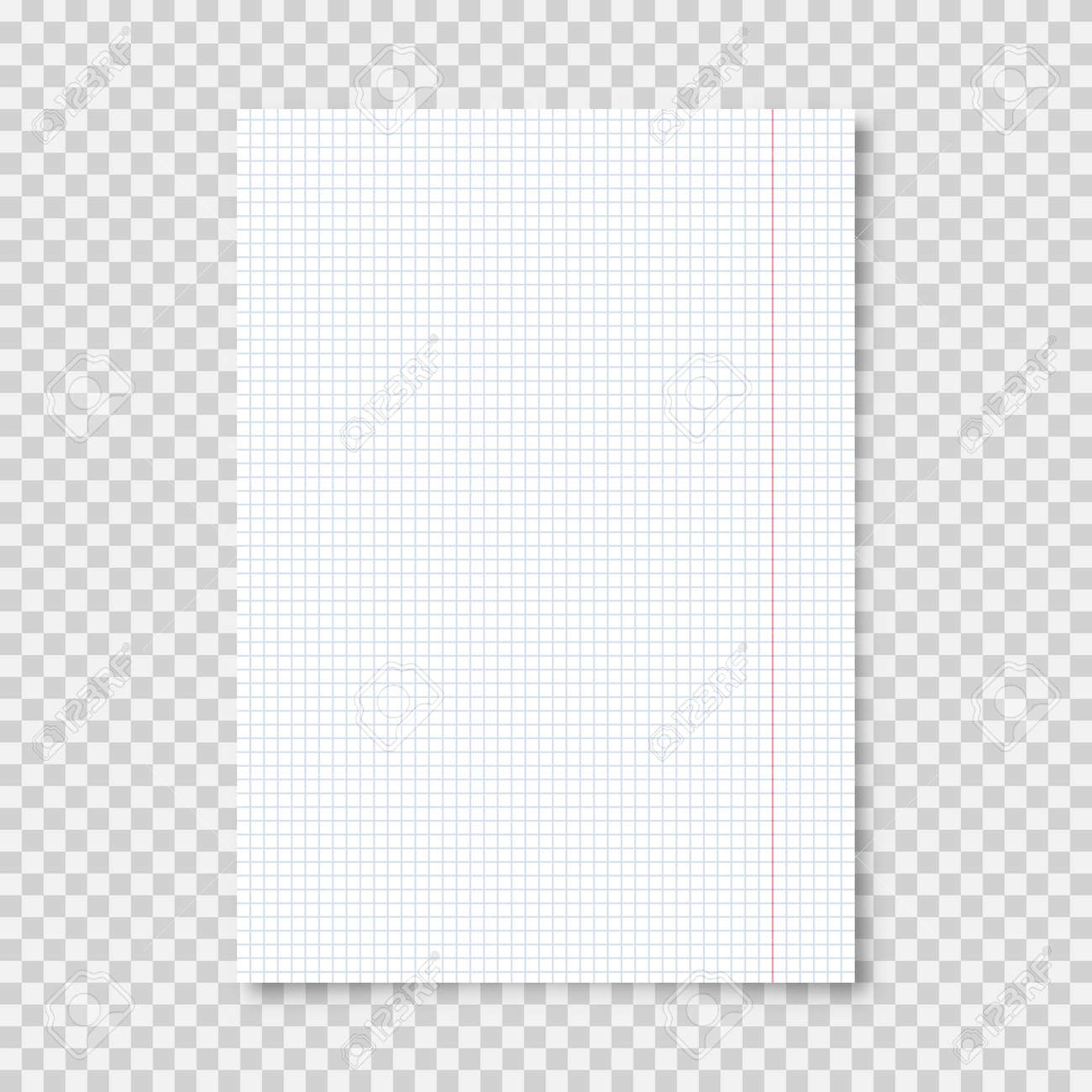 Realistic blank lined paper sheet in A4 format on transparent background. Notebook page, document. Design template or mockup. Vector illustration. - 163312134