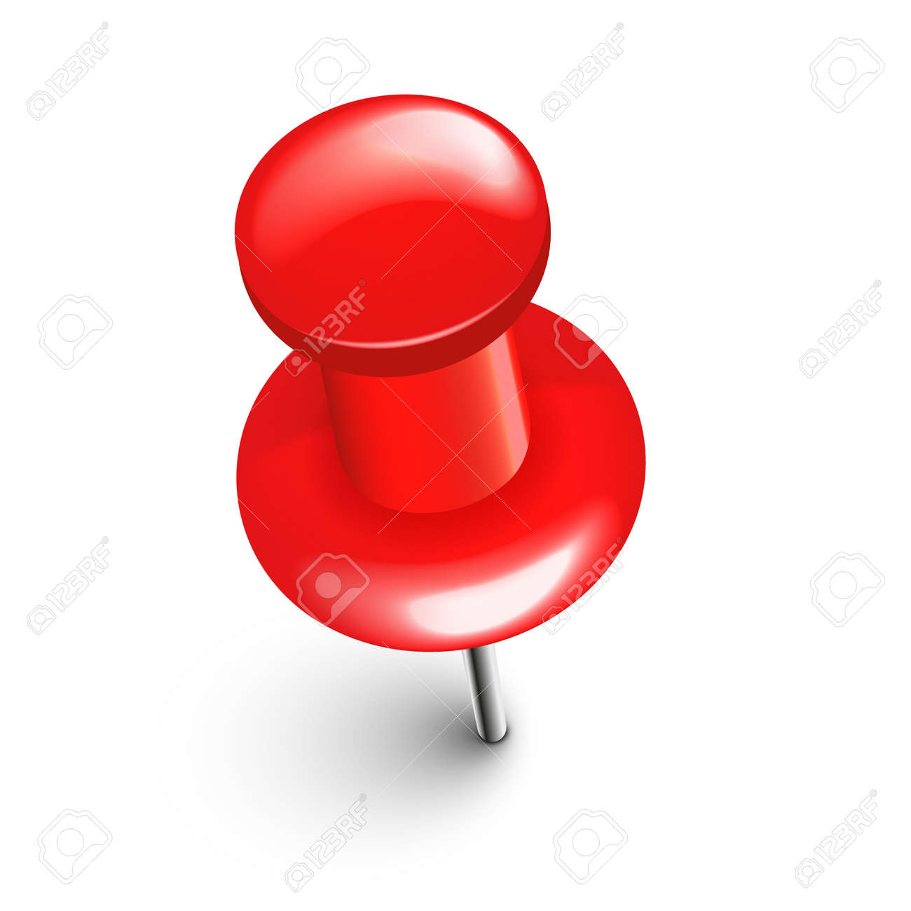 Realistic red push pin. Board tack isolated on white background. Plastic pushpin with needle. Vector illustration. - 166628744