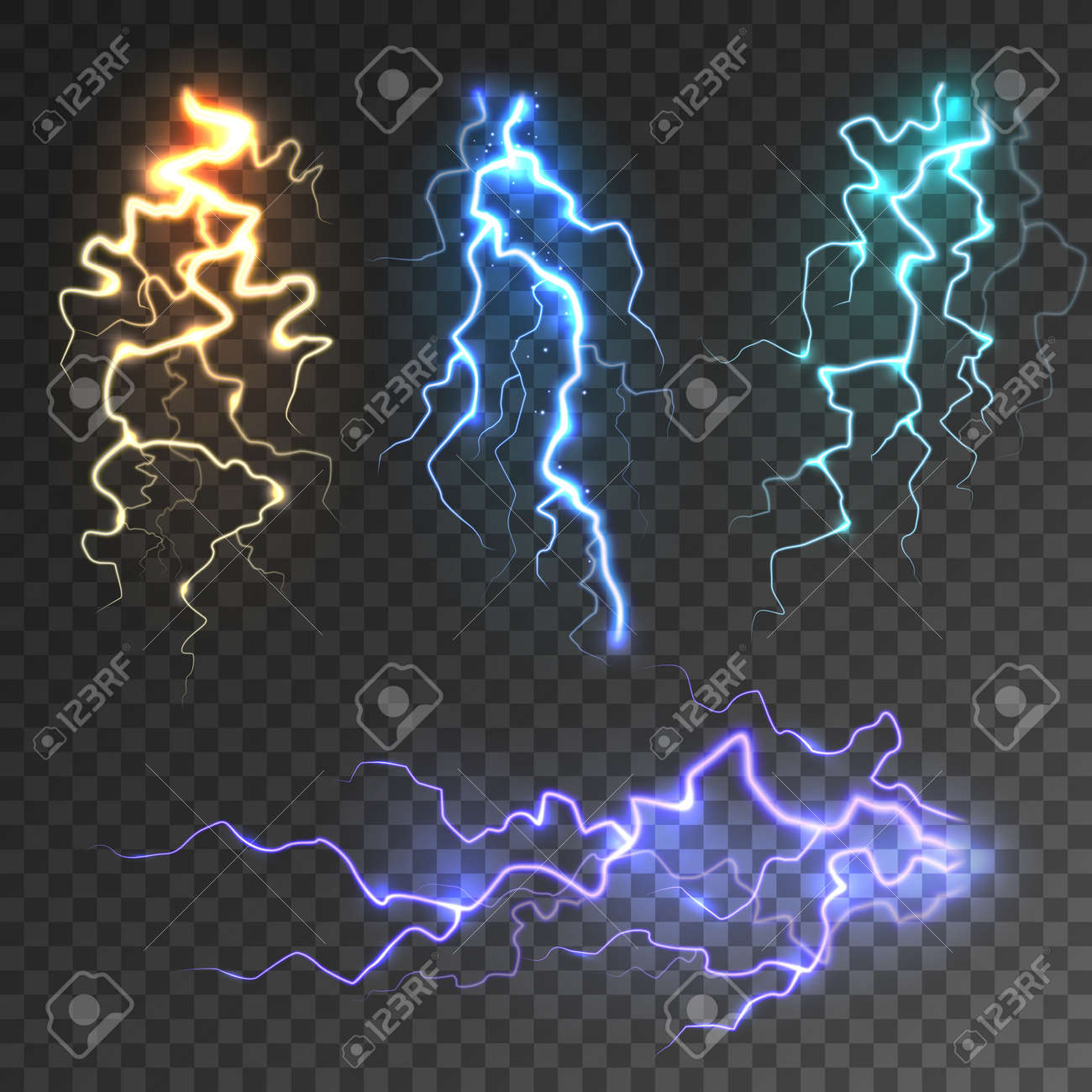 Realistic lightning collection on transparent background. Thunderstorm and lightning bolt. Sparks of light. Stormy weather effect. Vector illustration. - 166628779