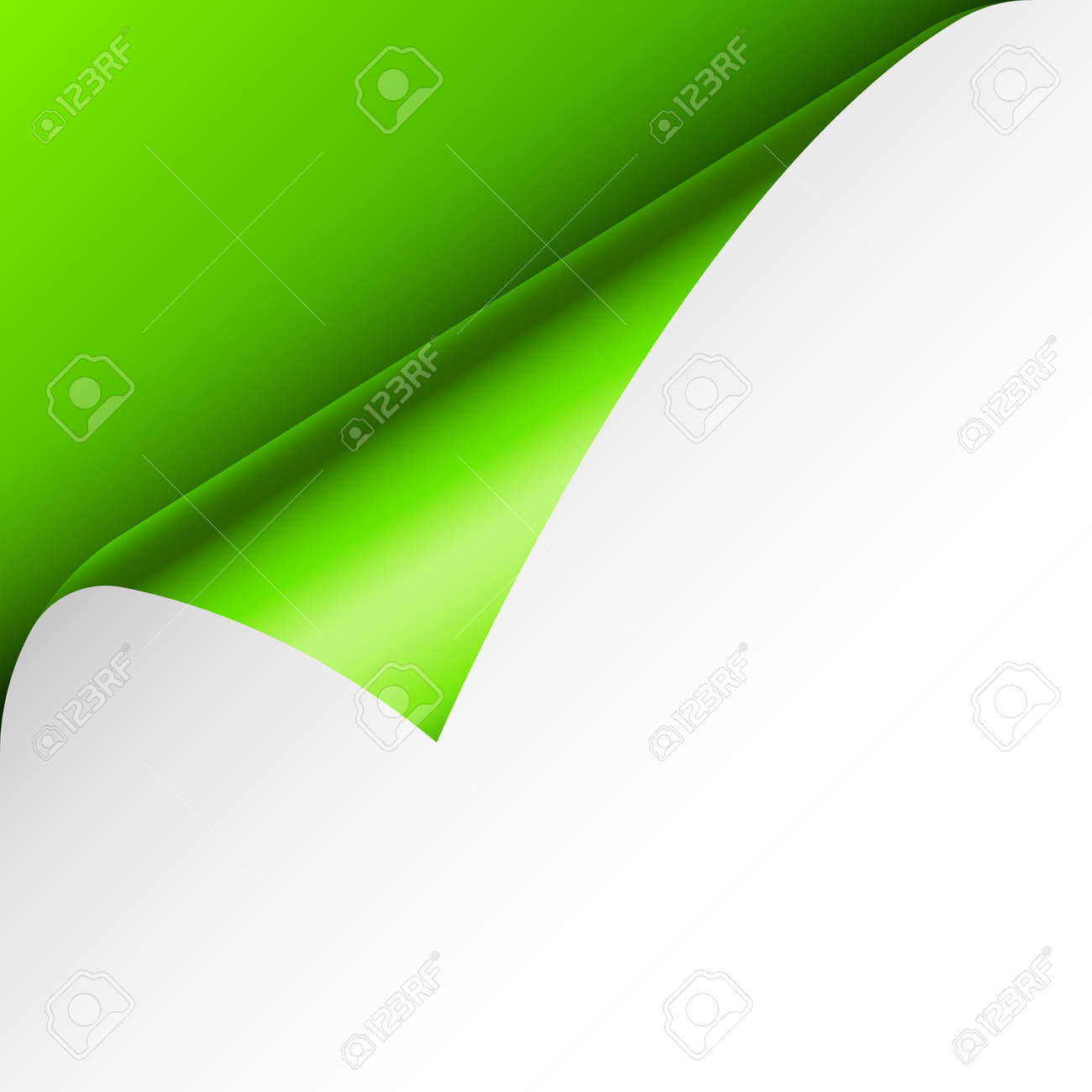 Green paper curl. Curled page corner with shadow. Blank sheet of paper. Colorful shiny foil. Design element for advertising and promotion. Vector illustration. - 166995497