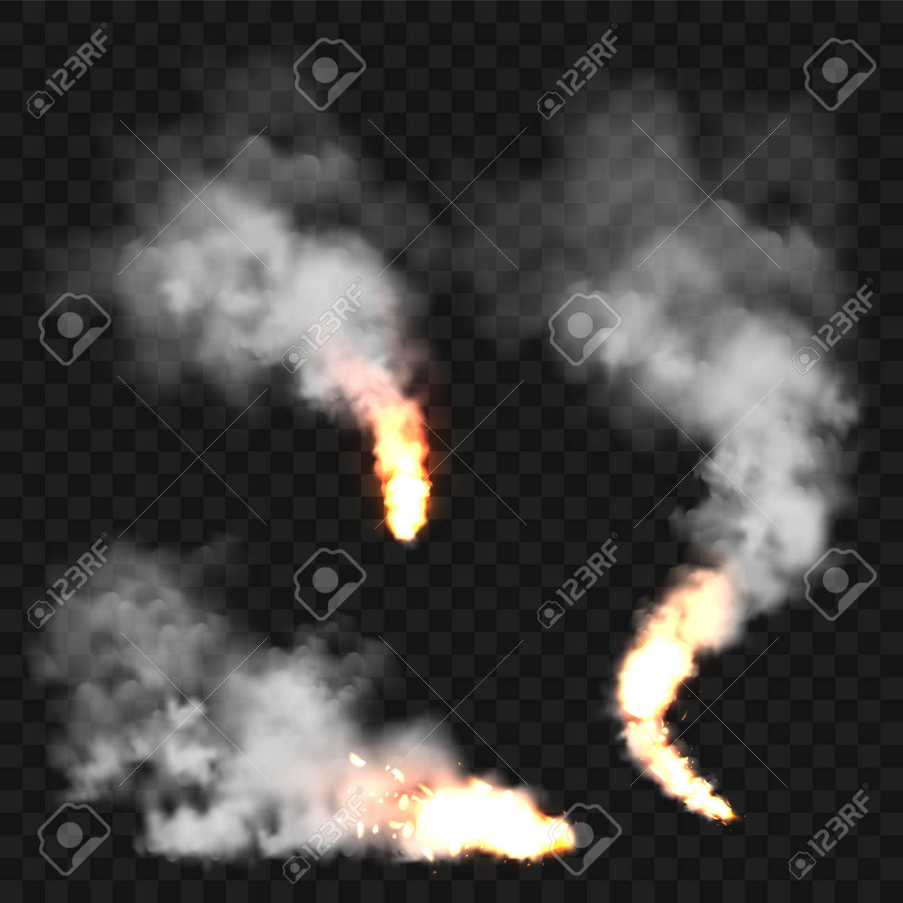 Realistic smoke clouds and fire. Flame blast, explosion. Stream of smoke from burning objects. Forest fires. Transparent fog effect. White steam, mist. Vector design element. - 169642703