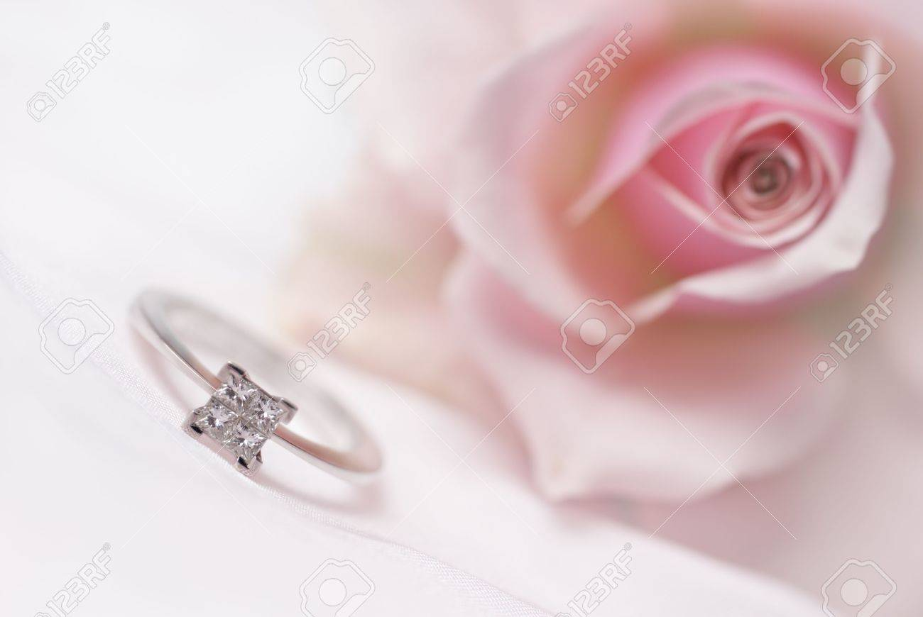 Diamond Engagement Ring With Pink Rose On Background (shallow ...