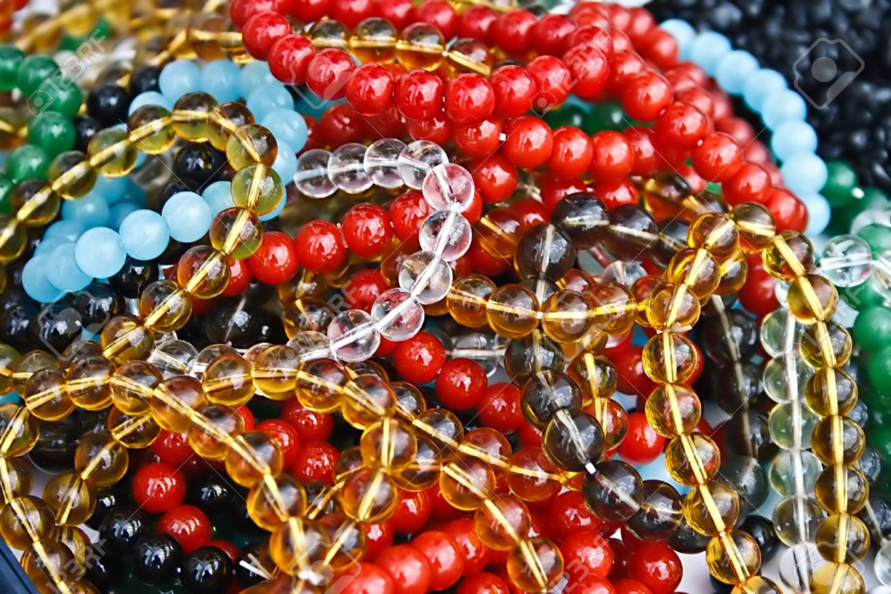 Different colored trinkets displayed in the waiting customers Stock Photo - 13823958