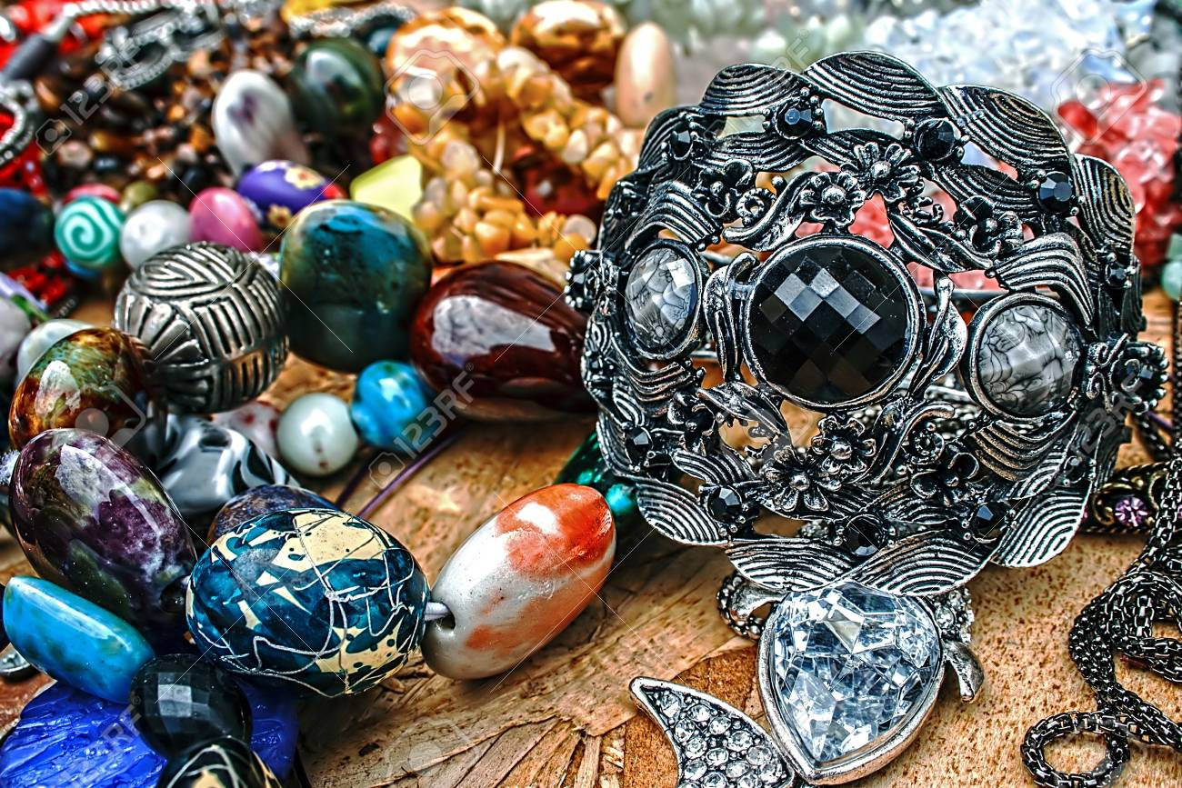 Different colored trinkets displayed in the waiting customers Stock Photo - 14855286