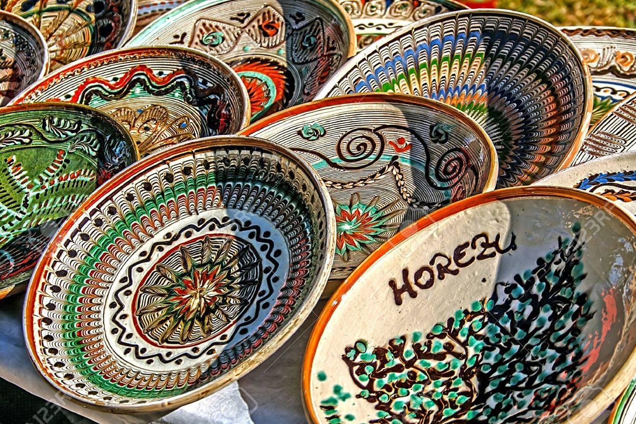 Romanian traditional ceramic plates Horezu area, Romania  Stock Photo - 15438653
