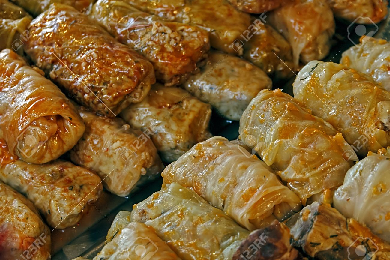 Cabbage cooked at a fair with traditional Romanian food. Cuisine stuffed cabbage are traditional for all areas in Romania. - 16679371