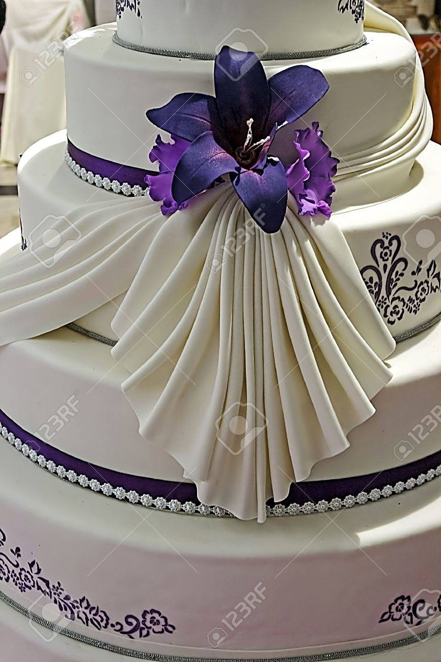 Wedding Cake Specially Decorated With Edible Purple Flowers And Stock Photo Picture And Royalty Free Image Image 17409948