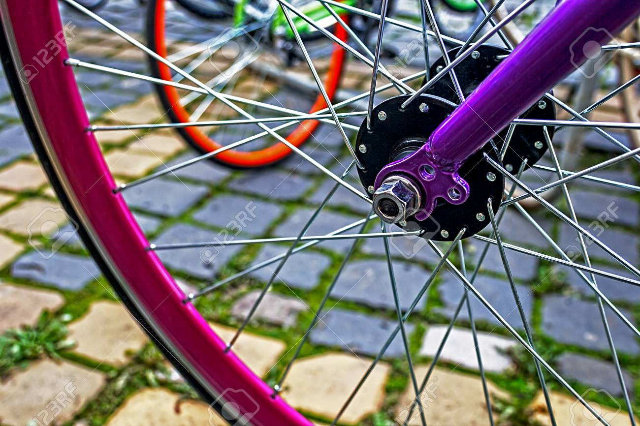 Detail of the front wheels to the bike Stock Photo - 22664564