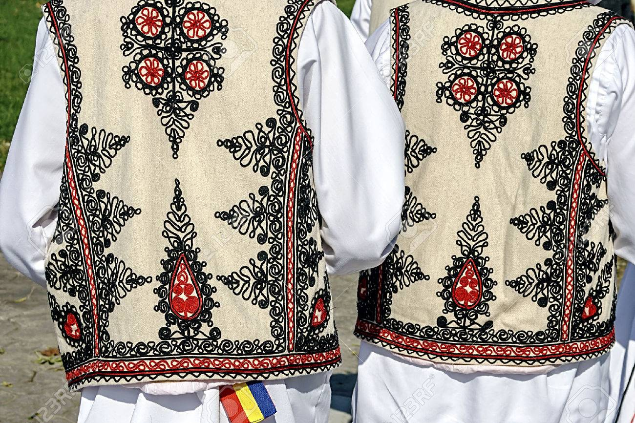 Two people with old traditional Romanian folk costume Specific Banat, Romania - 22980641