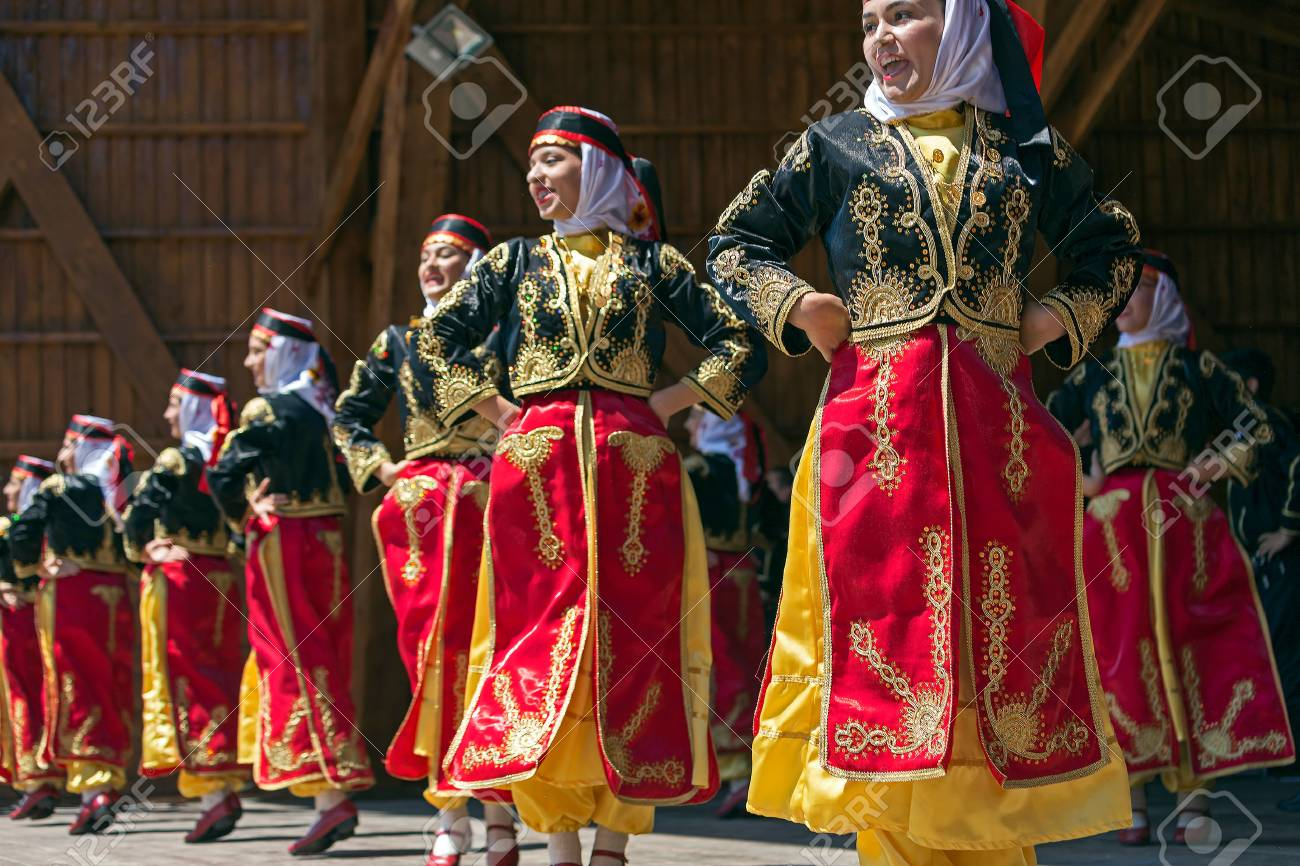 """ROMANIA, TIMISOARA - JULY 10, 2016: Young Turkish dancers in traditional costume, present at the international folk festival, """"International Festival of hearts"""" organized by the City Hall Timisoara. - 60518245"""