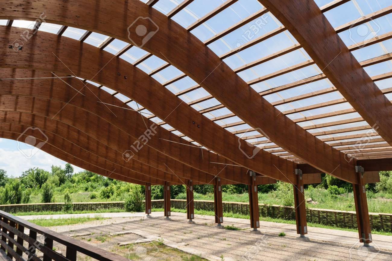Massive Wood Beams Roof Structure With S Curved Shaped And Covered Stock Photo Picture And Royalty Free Image Image 105485889