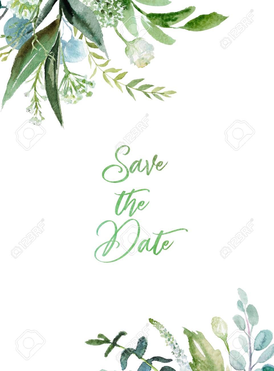 Watercolor Floral Illustration Leaf Frame Border For Wedding