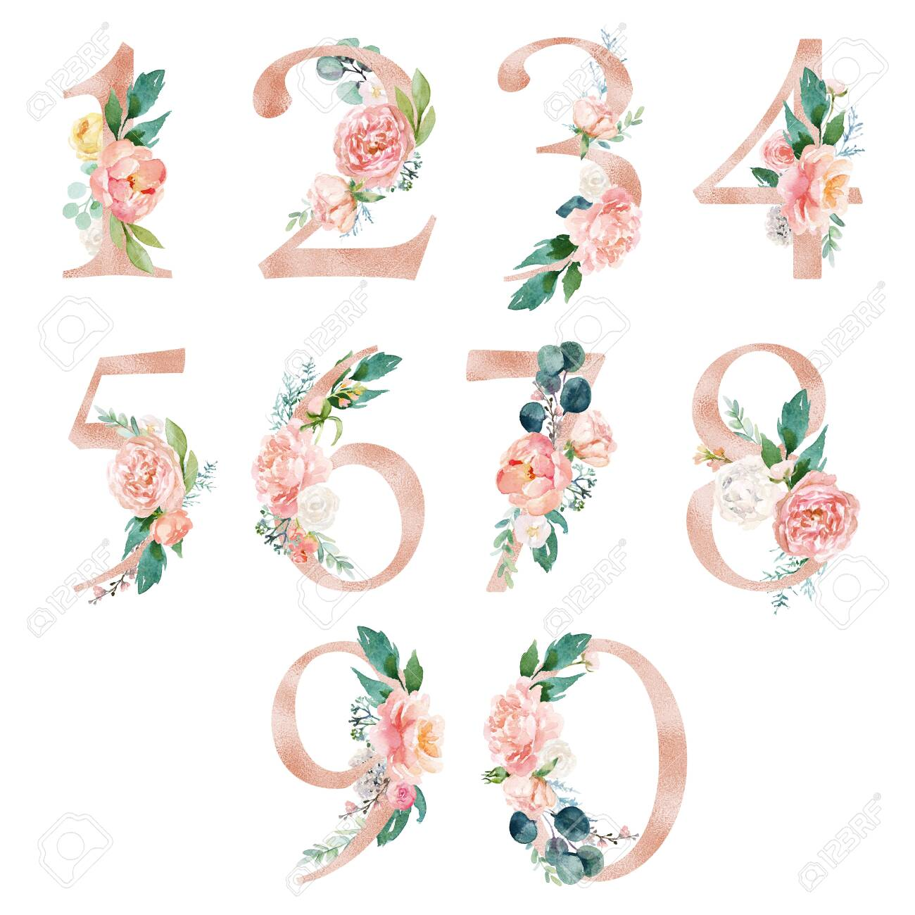 Peach cream / Blush Floral Number Set - digits 1, 2, 3, 4, 5, 6, 7, 8, 9, with flowers bouquet composition. Unique collection for wedding invites decoration & other concept ideas. - 135653343