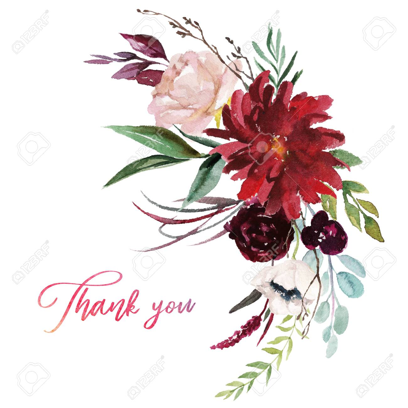 Watercolor Floral Illustration Flowers Burgundy Bouquet For Stock Photo Picture And Royalty Free Image Image 140949965