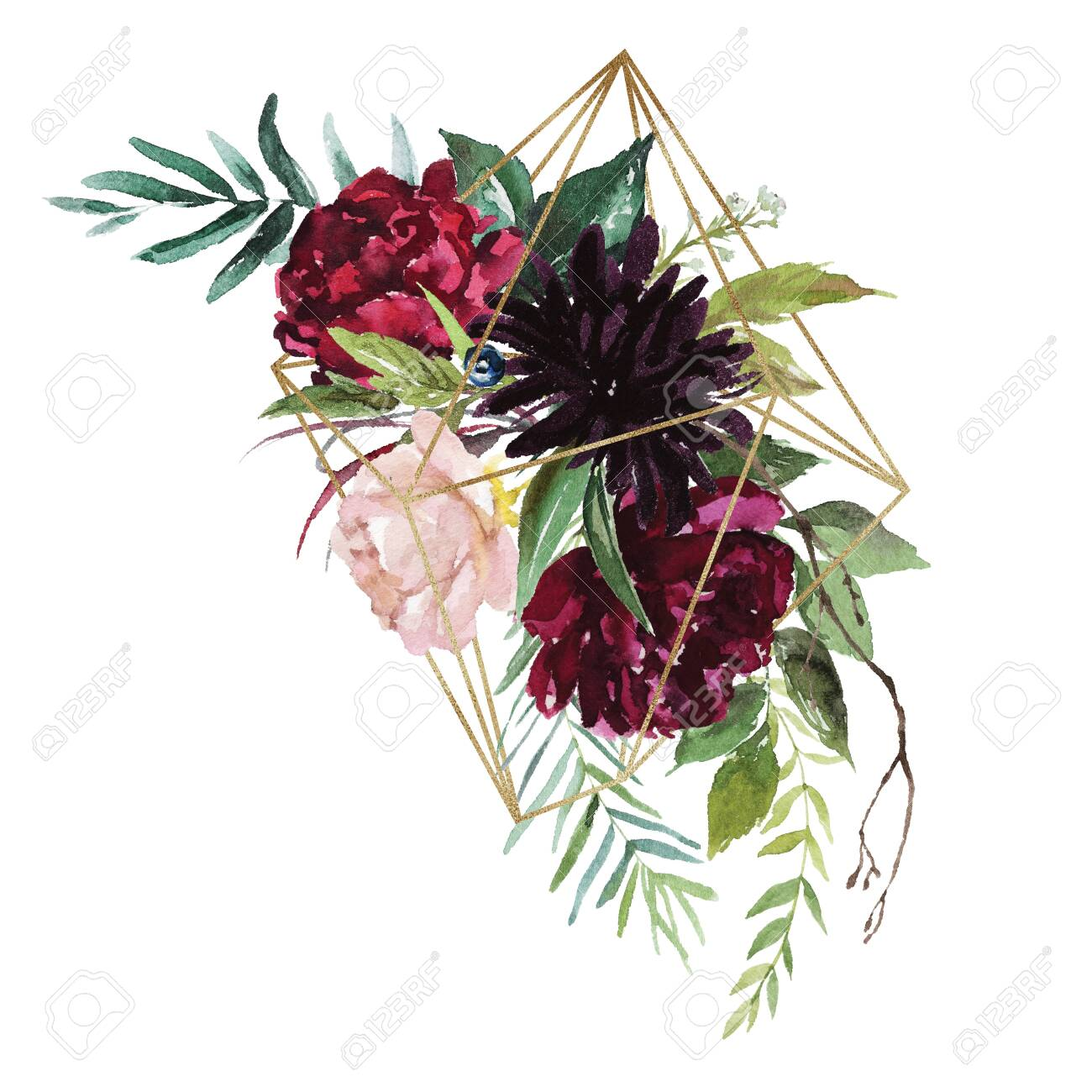 Watercolor Floral Illustration Burgundy Flowers Bouquet With Stock Photo Picture And Royalty Free Image Image 140950095