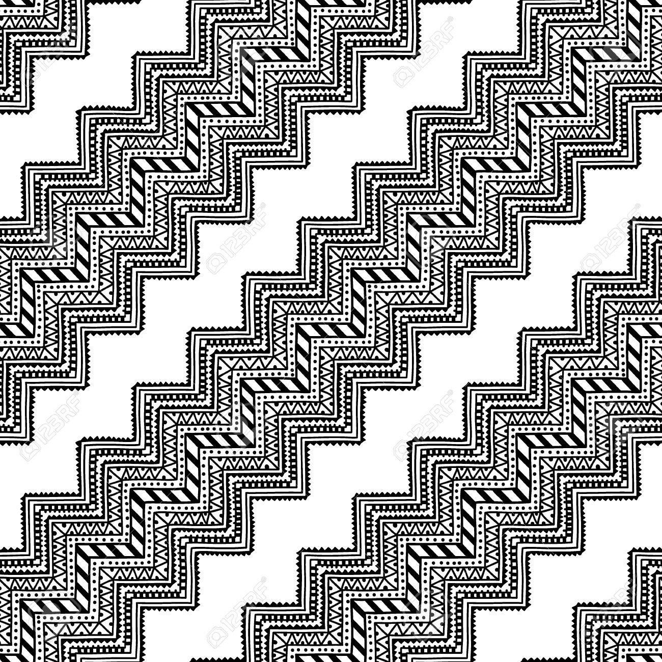 Nahtlose Ethnischen Muster Schwarz Weiß Vektor Illustration