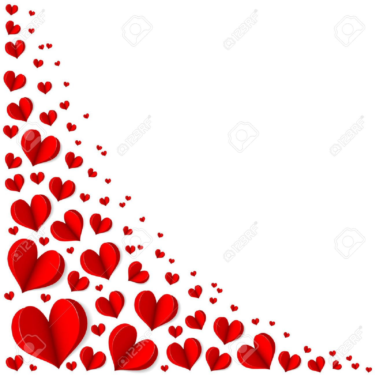 Frame Of Red Hearts On Valentine\'s Day. Empty Space For Your Text ...