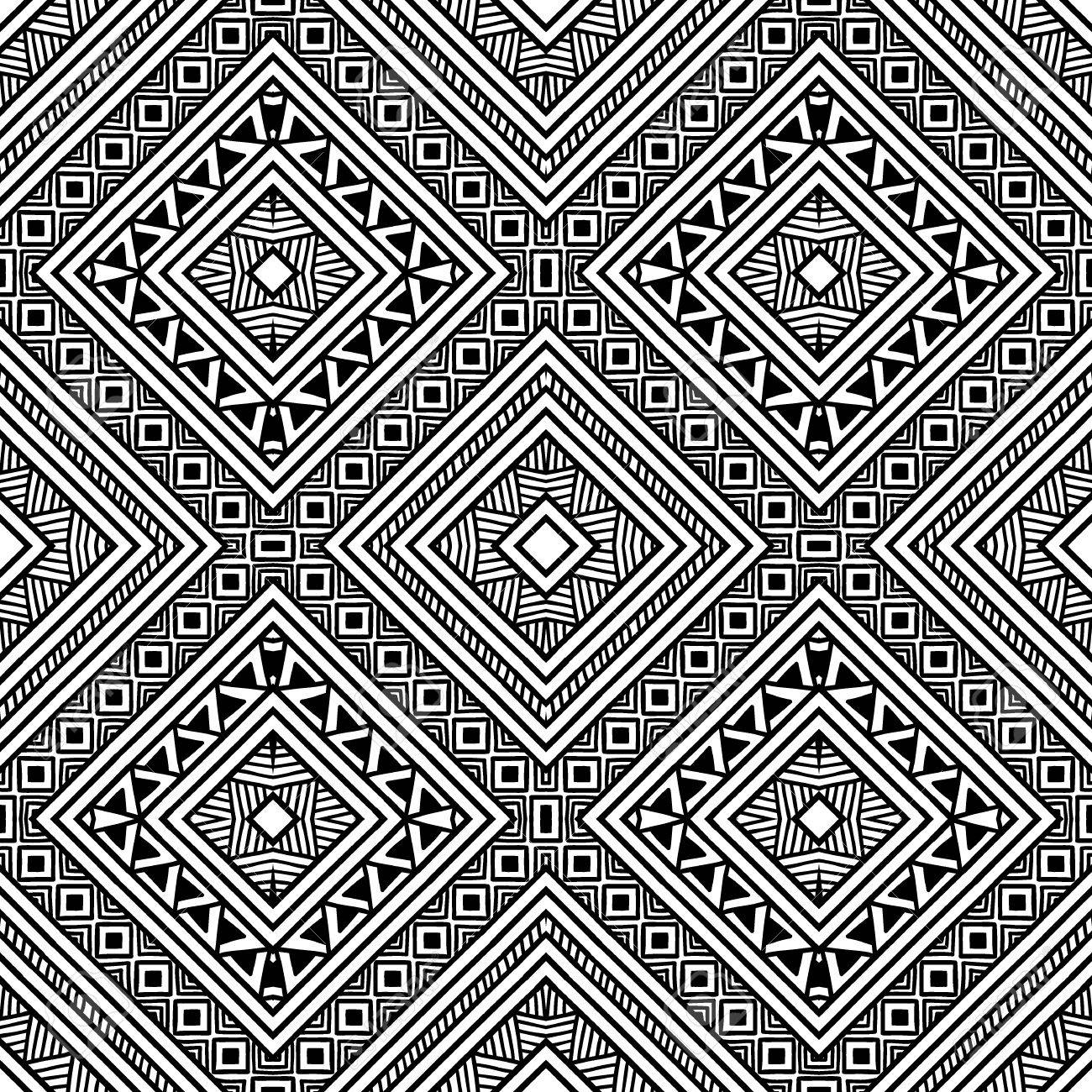 Nahtloses Ethnisches Muster Schwarz Weiß Mosaik Ornament Hand