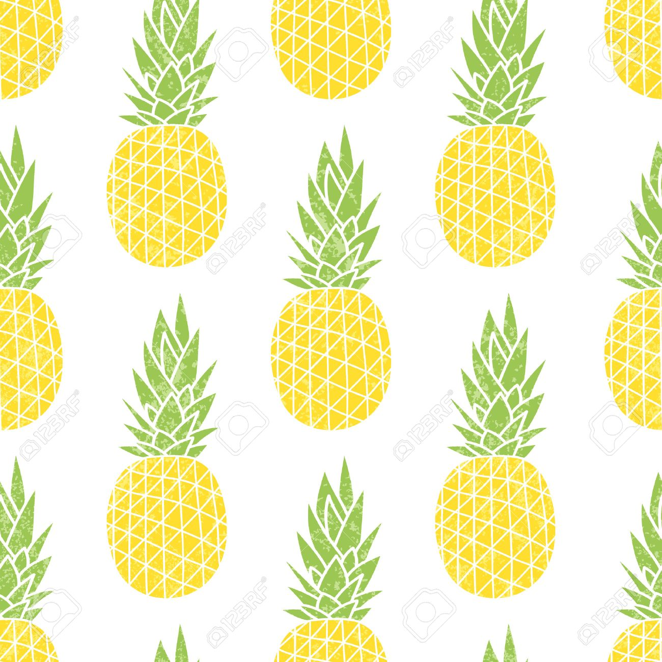 Cartoon Pineapple On A White Background Simple Cute Summer Pattern Seamless Textile