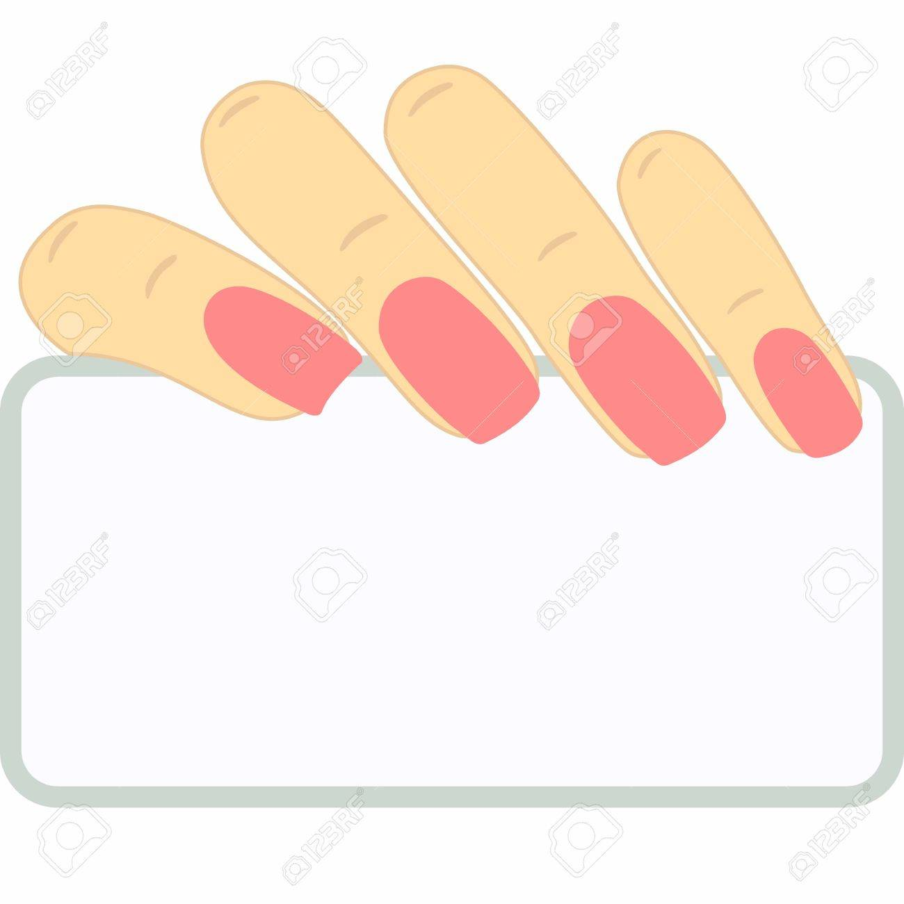Business Card In Hand. Elegant Manicure. Empty Space For Your ...