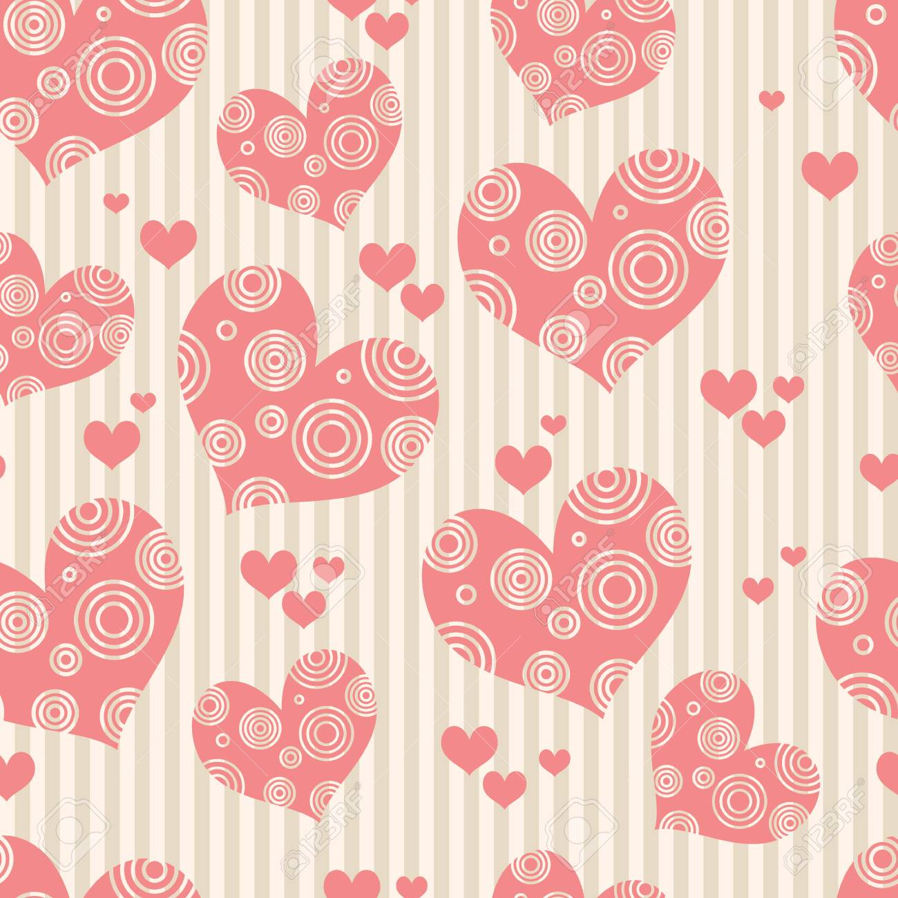 Seamless Pink Background With Hearts Wallpapers Valentines Day Wedding Vector Illustration