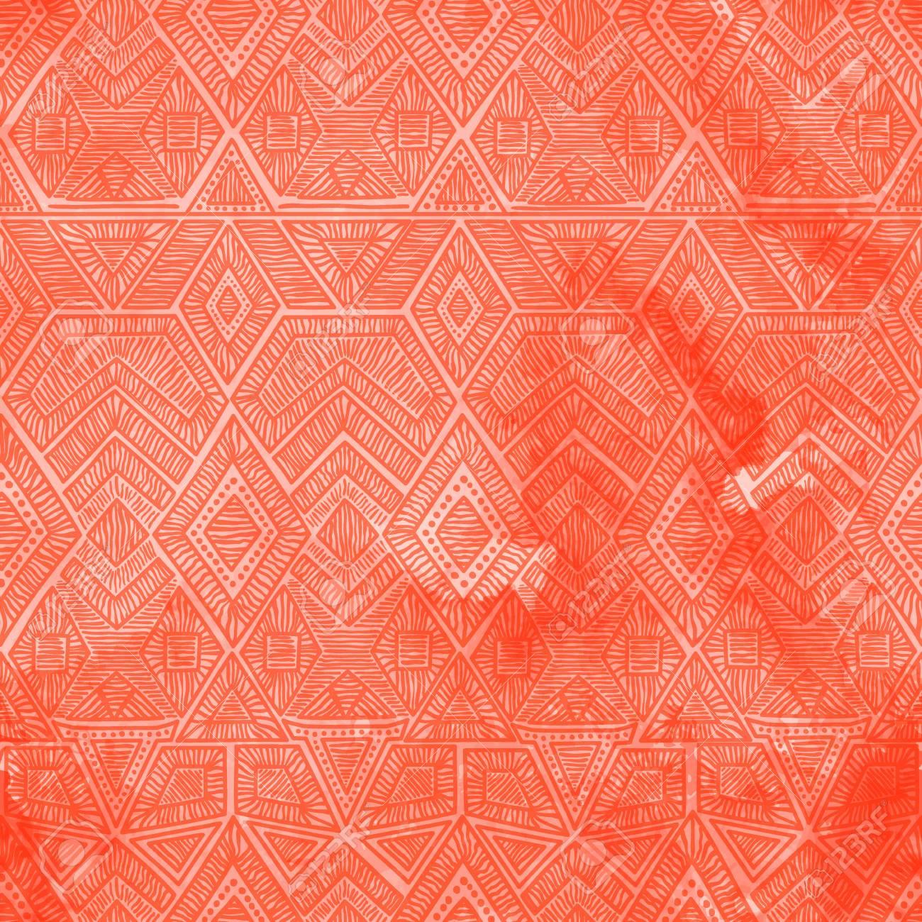 Motif Geometrique Seamless Avec Une Texture D Aquarelle Coral