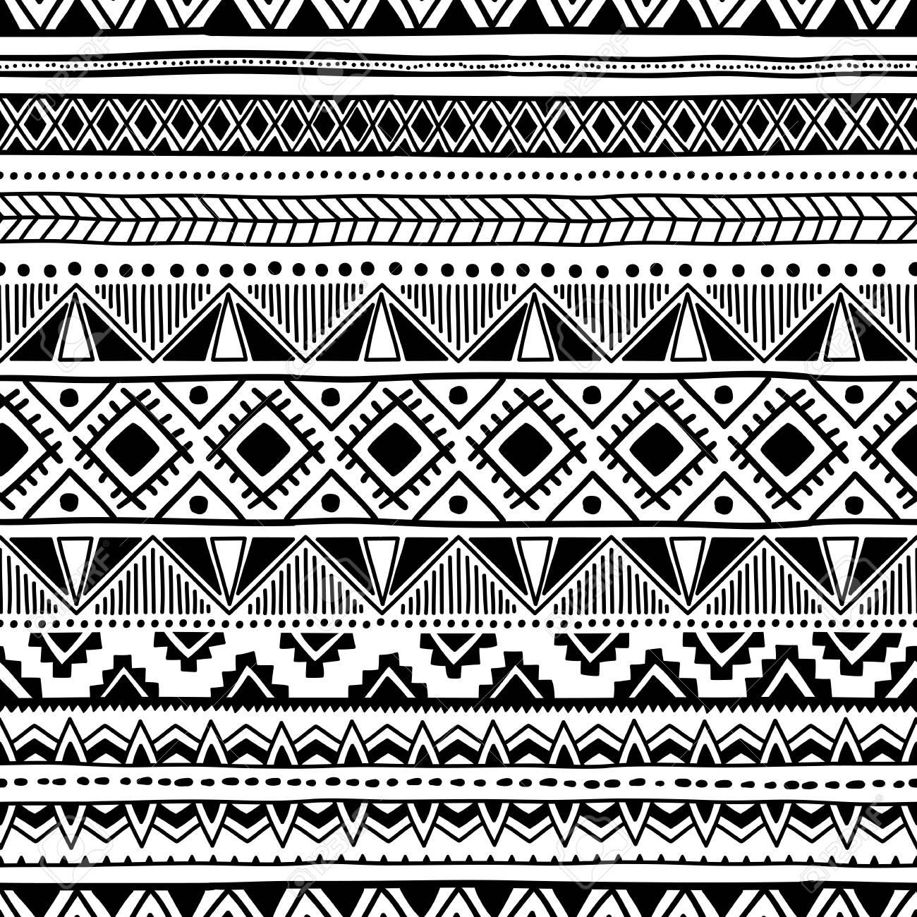 Motif Ethnique Seamless Ornement Géométrique Noir Et Blanc Imprimer Pour Votre Textile Fait Main Vector Illustration