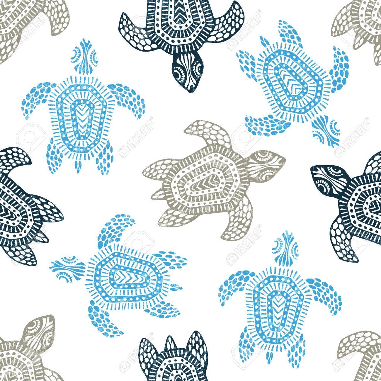 Schildkröten - Nahtlose Muster. Blaue, Graue Und Weiße Farben ...