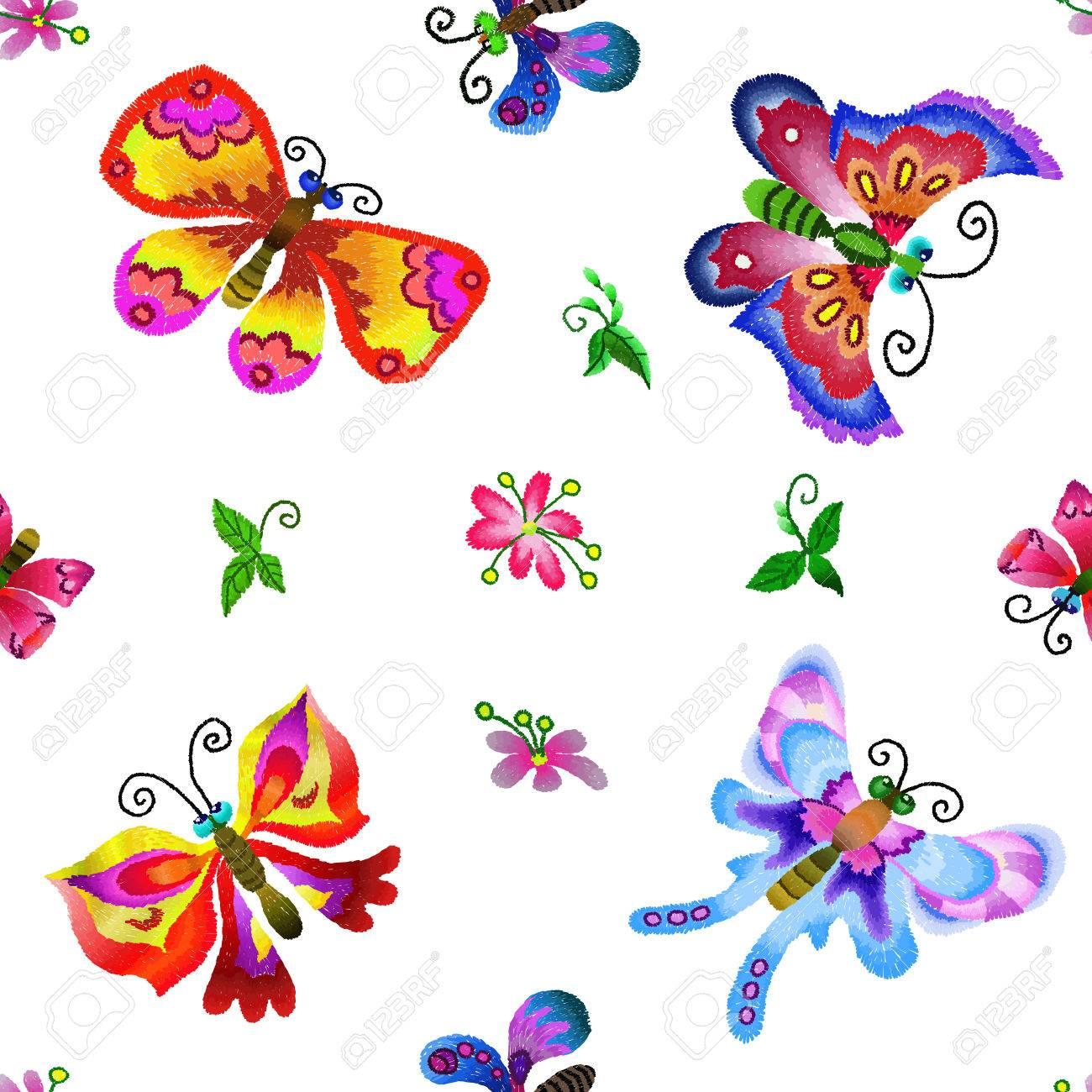 Mariposas Bordadas - Patrón Transparente. Ilustración Hecha A Mano ...