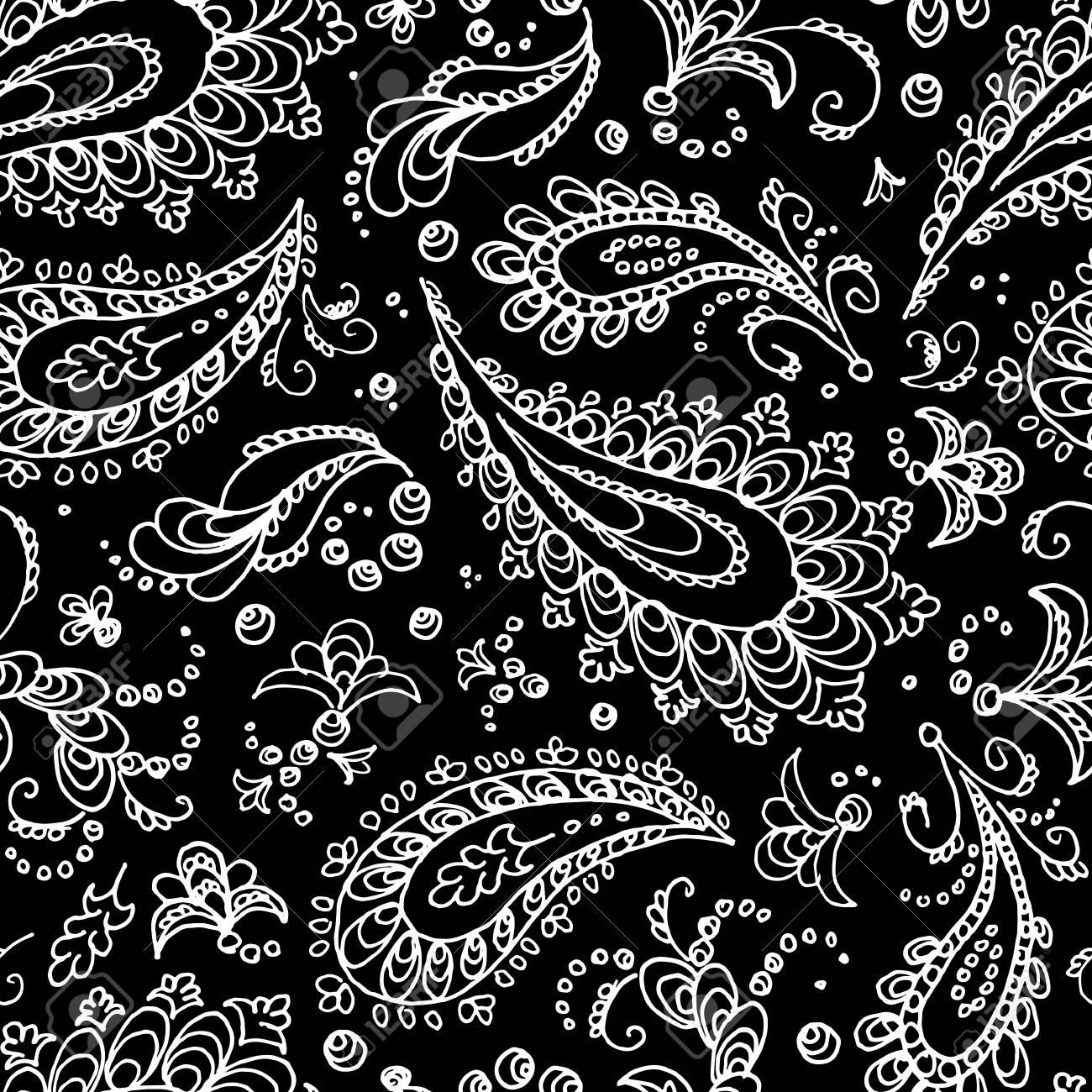 Seamless Paisley Pattern Turkish Cucumber Trace White Flowers