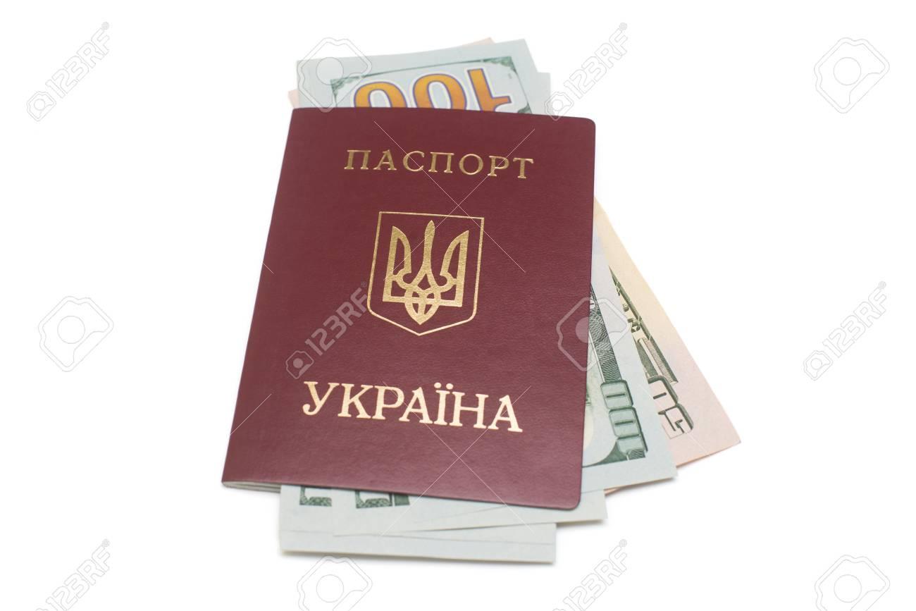 Ukrainian passport and dollars isolated on white background - 95203019