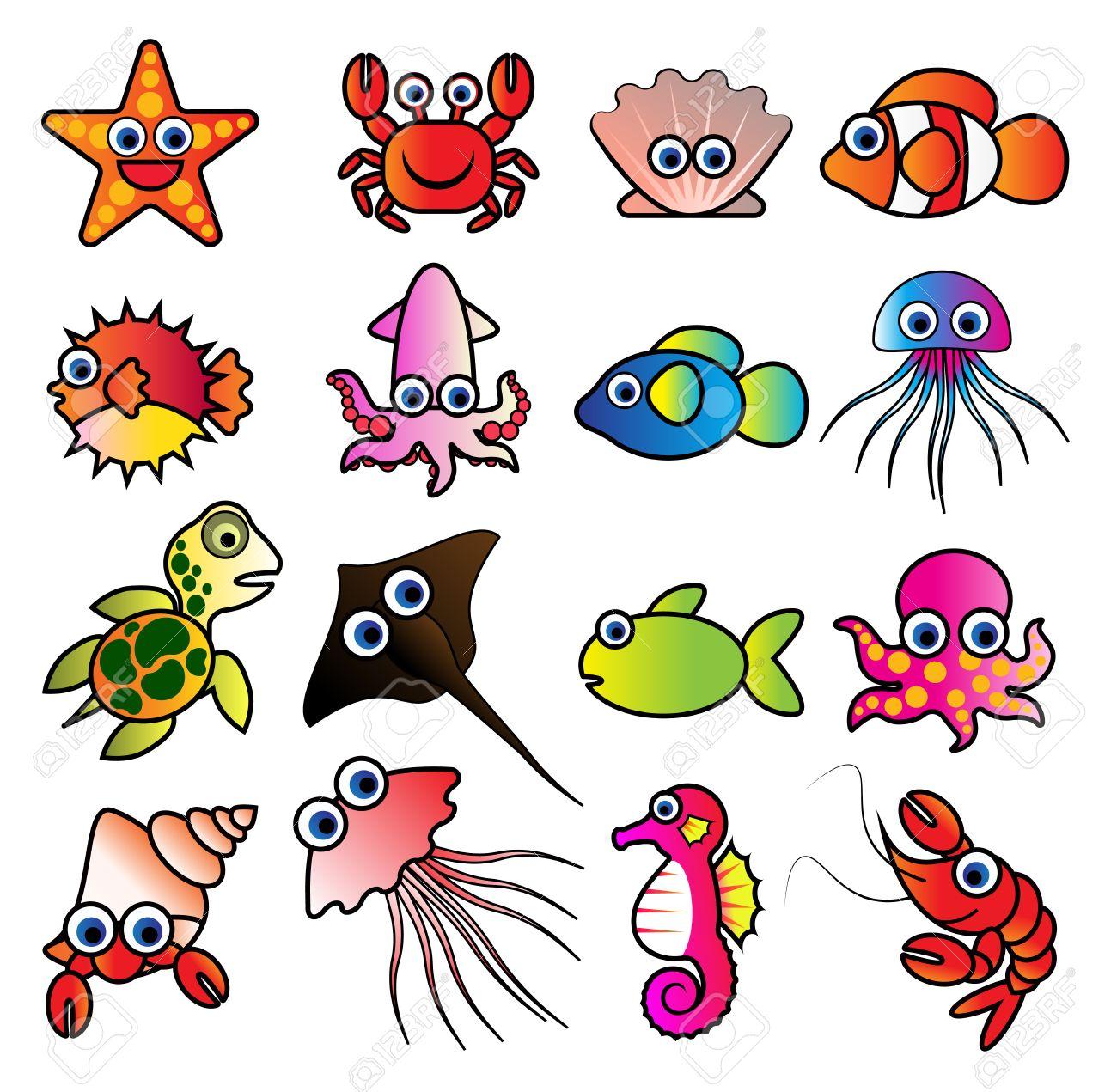 De Dibujos Animados De Animales Marinos, Animales Acuáticos Lindo ...