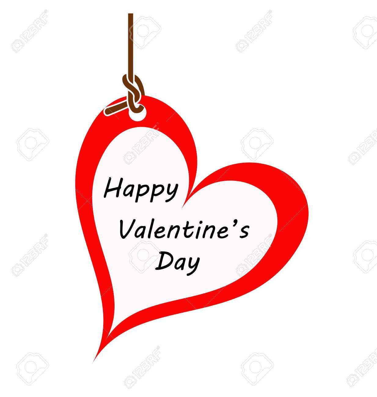 Heart Valentine Card Hanging On A Rope Happy Valentines Day Card Valentines Card
