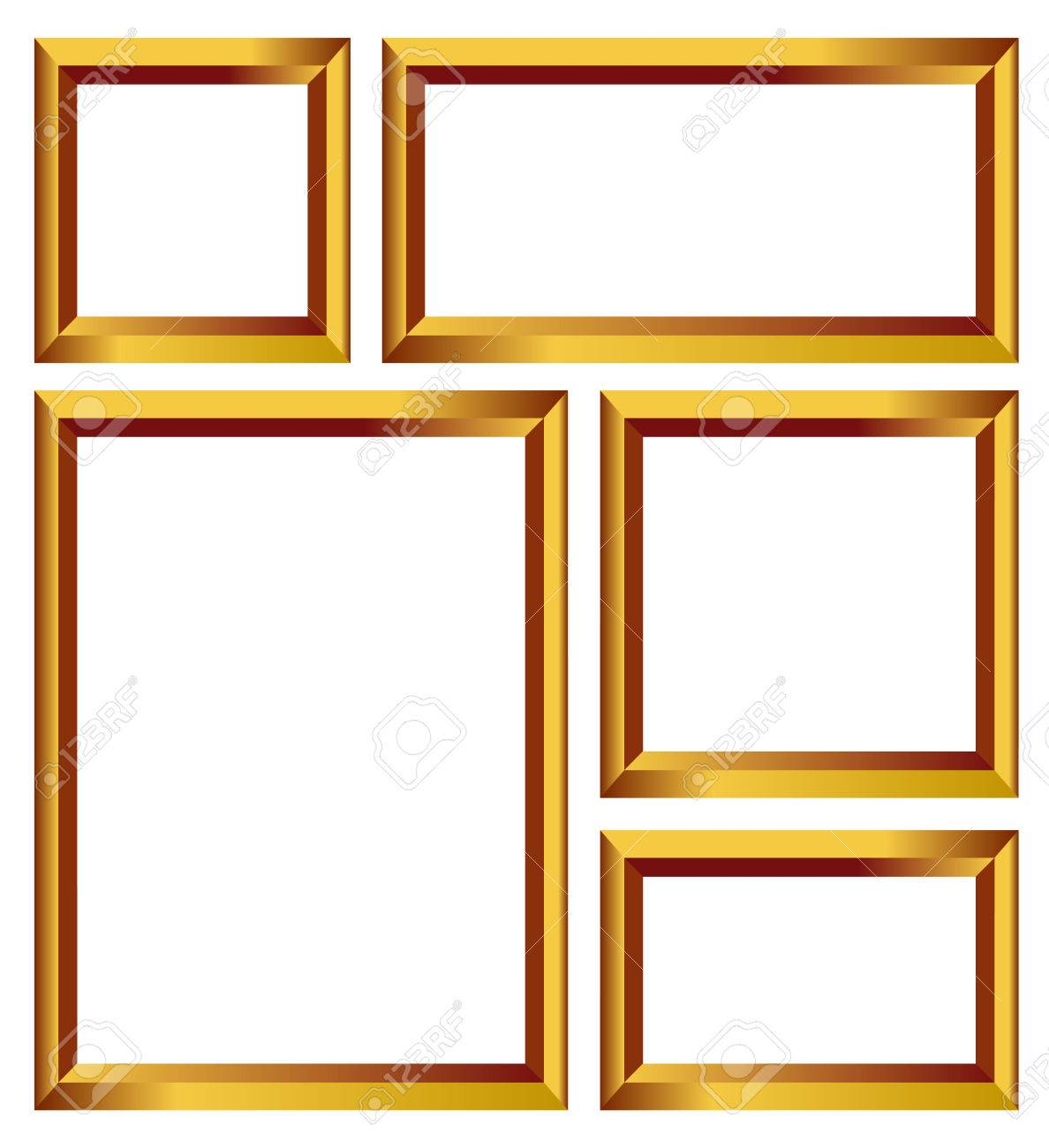 Set Of Gold Frames Golden Borders Isolated On White Background