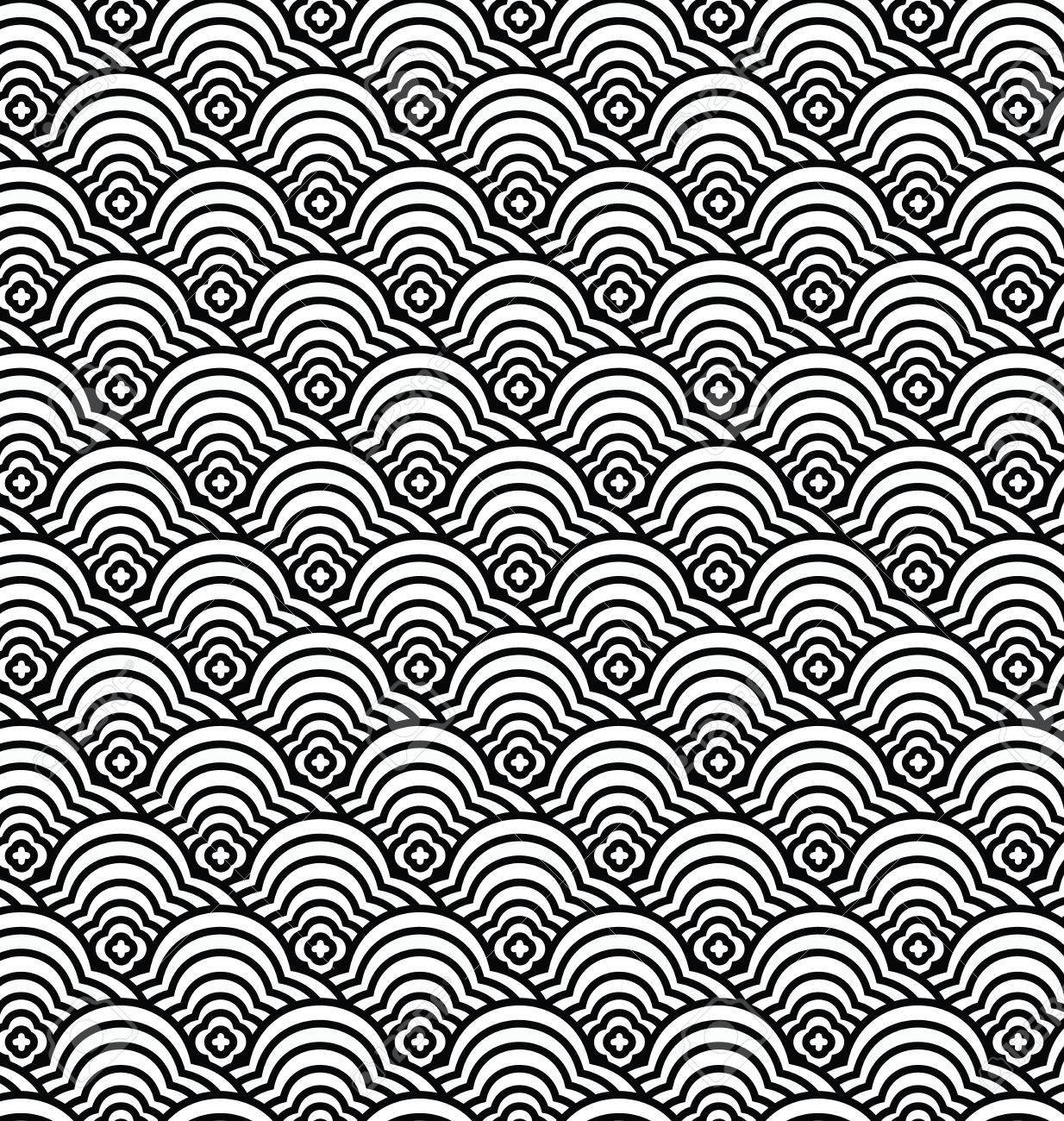 Chinese Seamless Pattern Vector Waves Illustration Stock