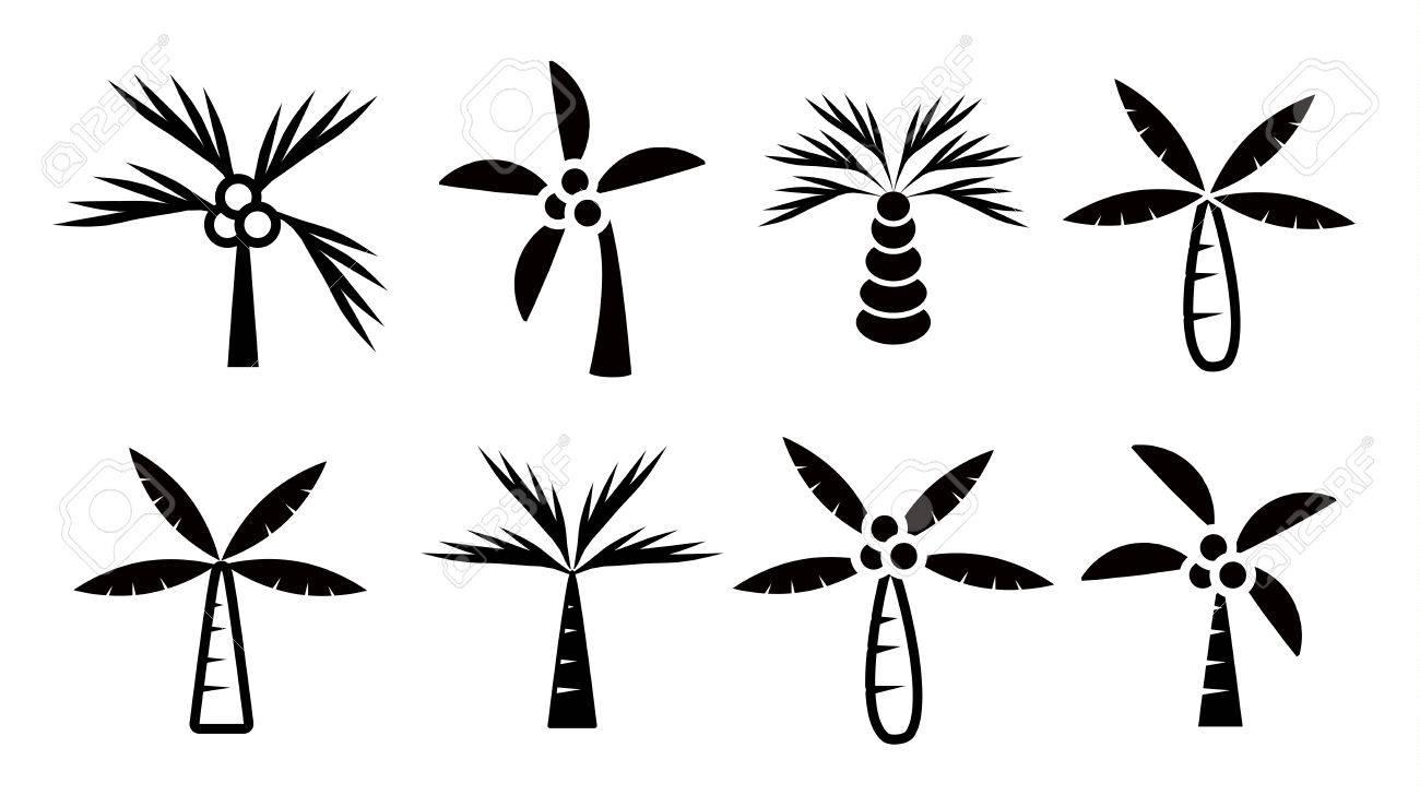 Kokosnuss Bäume Icon Set Vektor Auf Weißem Hintergrund, Palme ...