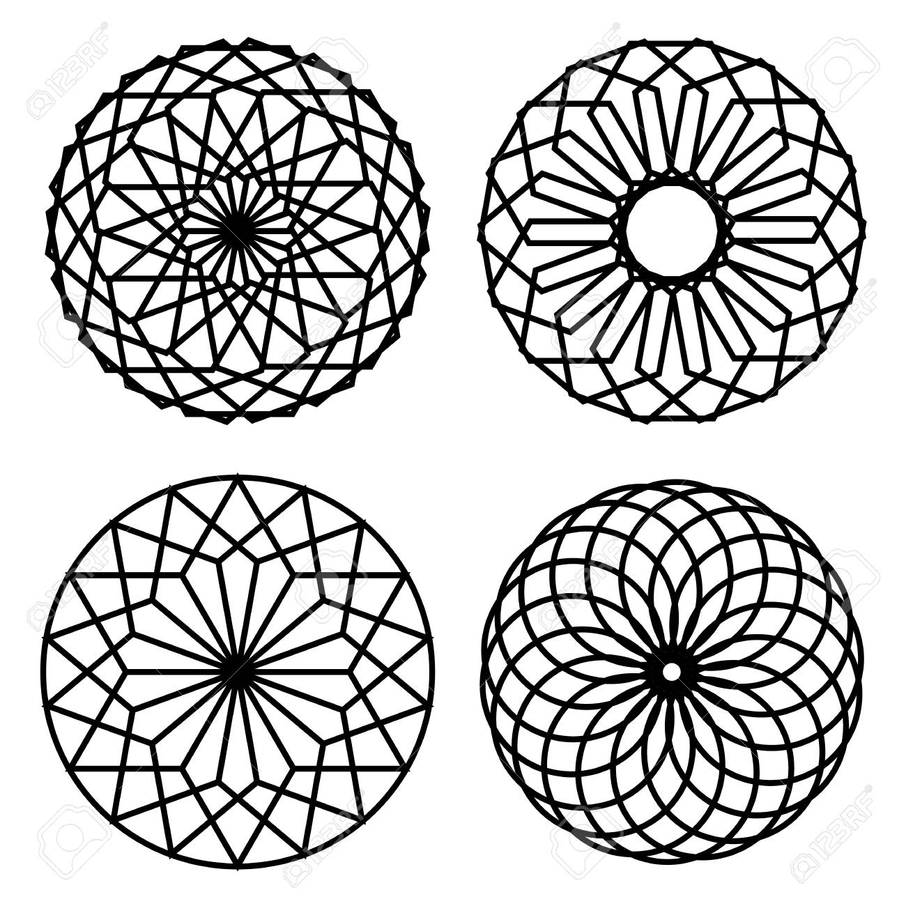 Simple geometric ornaments  Floral elements, Vector set of circular