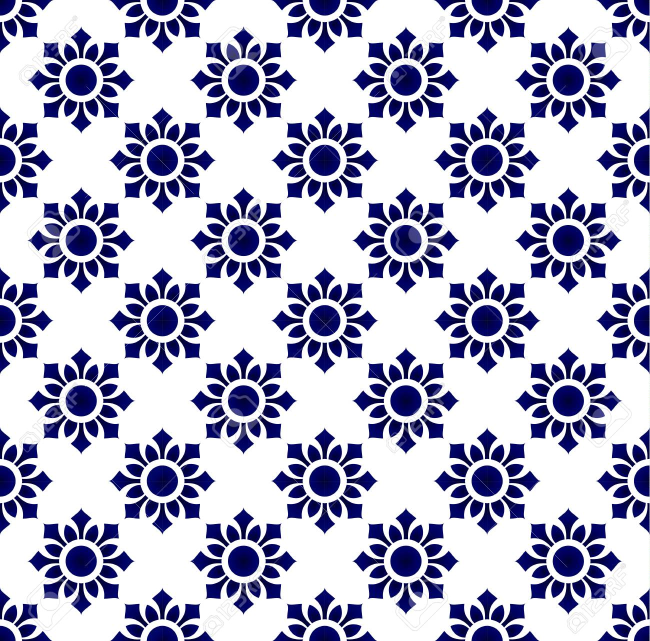 Floral Thai Pattern Blue And White Porcelain Geometric Background