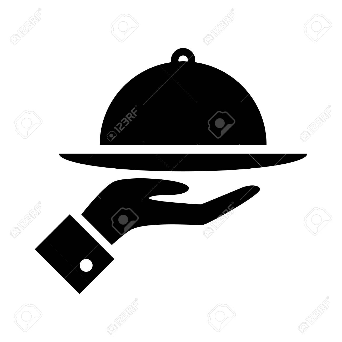 Covered food tray on a hand of hotel room service vector icon. - 97625742