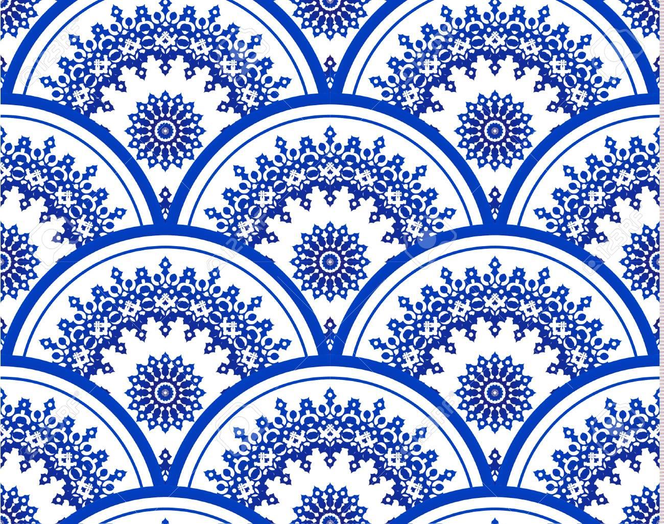 Blue And White Porcelain Seamless Mandala Pattern Background Design Stock Vector