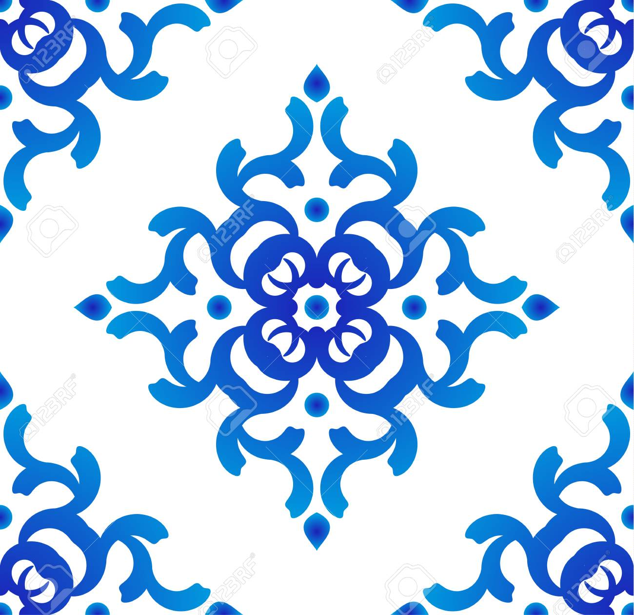 Seamless Blue And White Pattern Vector, Porcelain Background ...