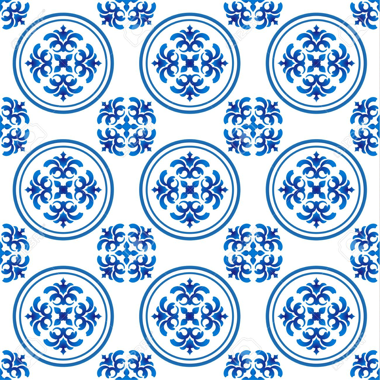 Chinaware Pattern Seamless Blue And White For Design Porcelain Royalty Free Cliparts Vectors And Stock Illustration Image 97574846