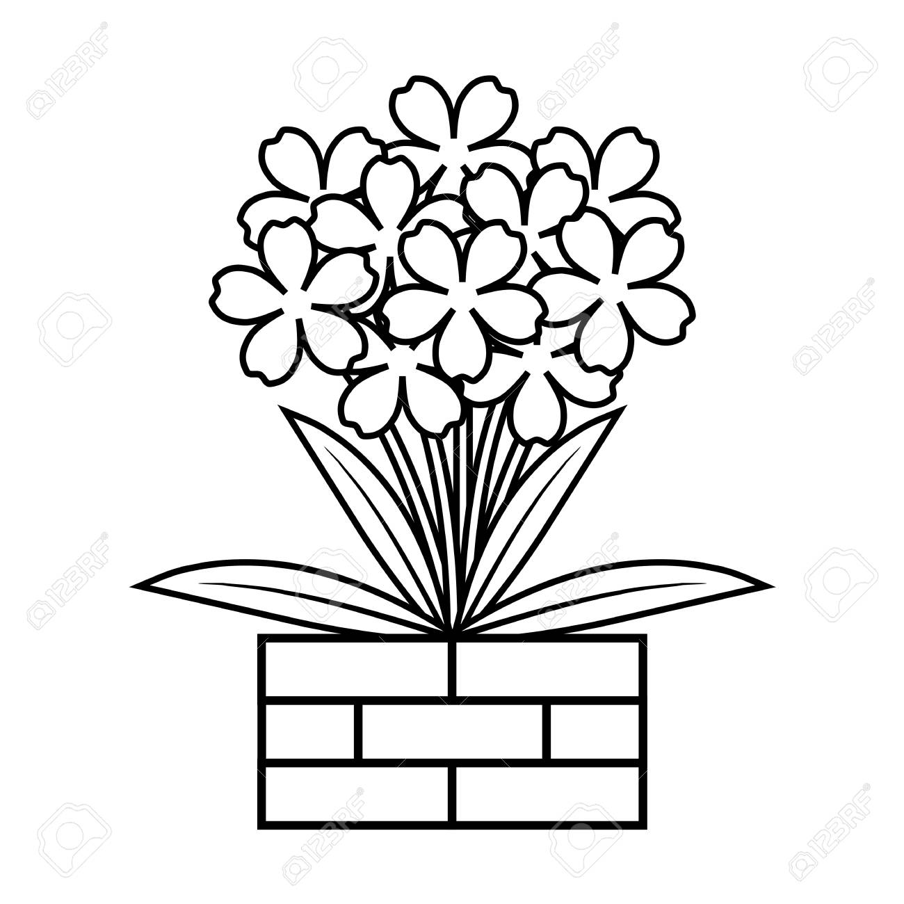 Coloring Book Flower In Flowerpot Cute Floral Outline Vector Illustration Stock