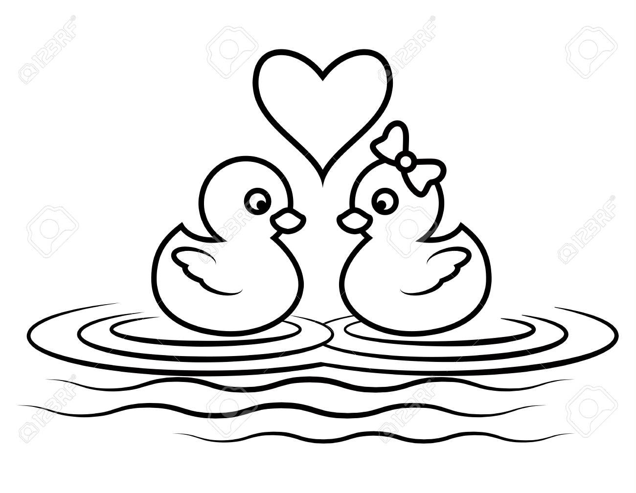 Cartoon duck lover for coloring book page cute couple animal