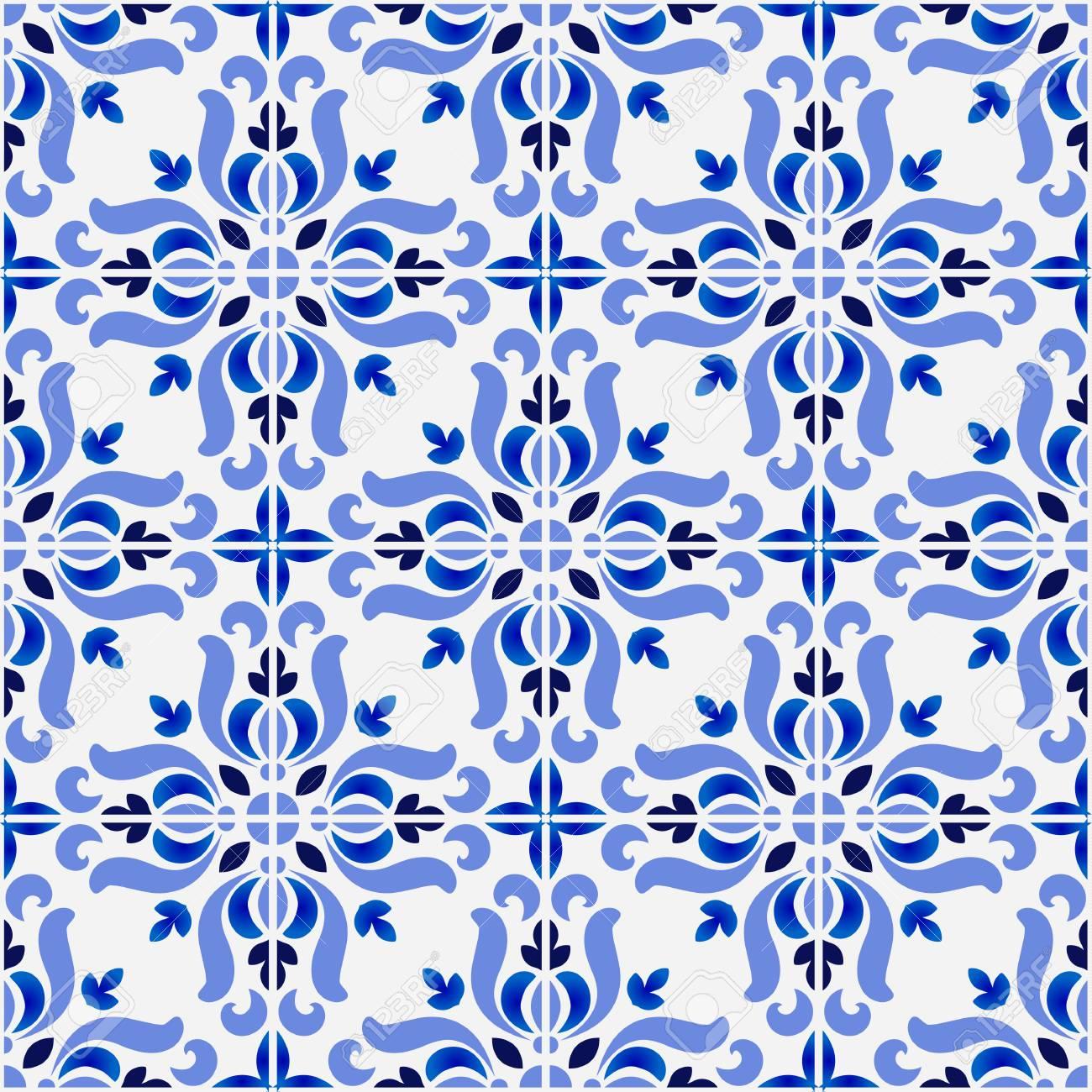 tile pattern, colorful decorative floral seamless background, beautiful ceramic wallpaper decor vector illustration - 123745615