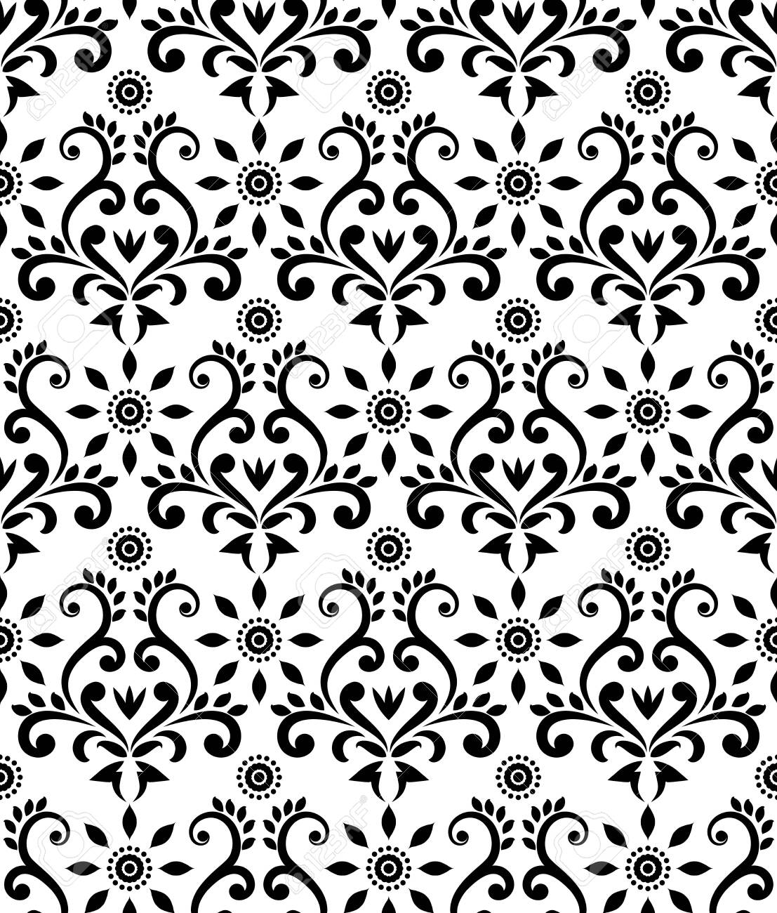 Vintage Damask Pattern Baroque Black And White Wallpaper Decor